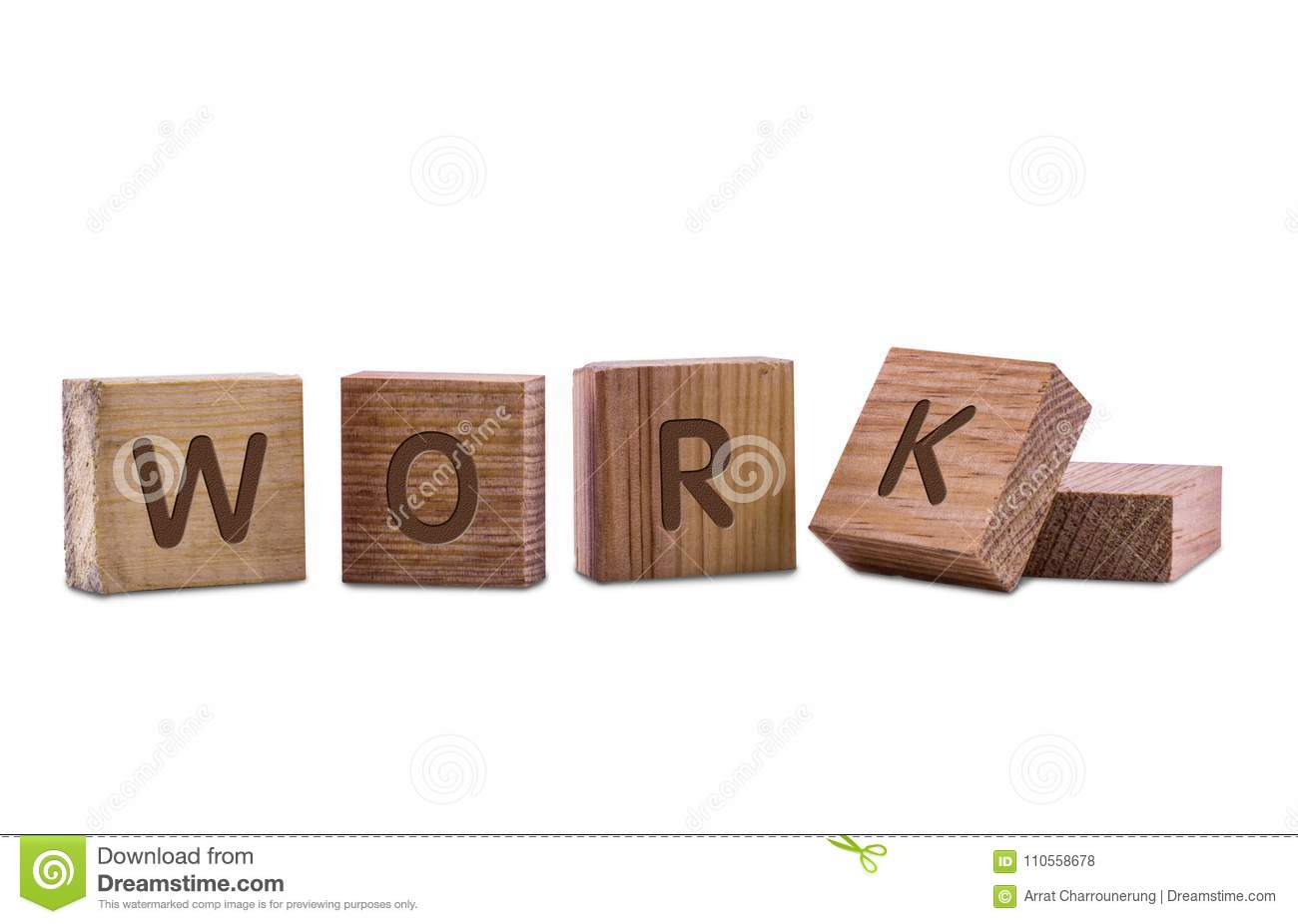 work word by wooden block letters on white background in concep