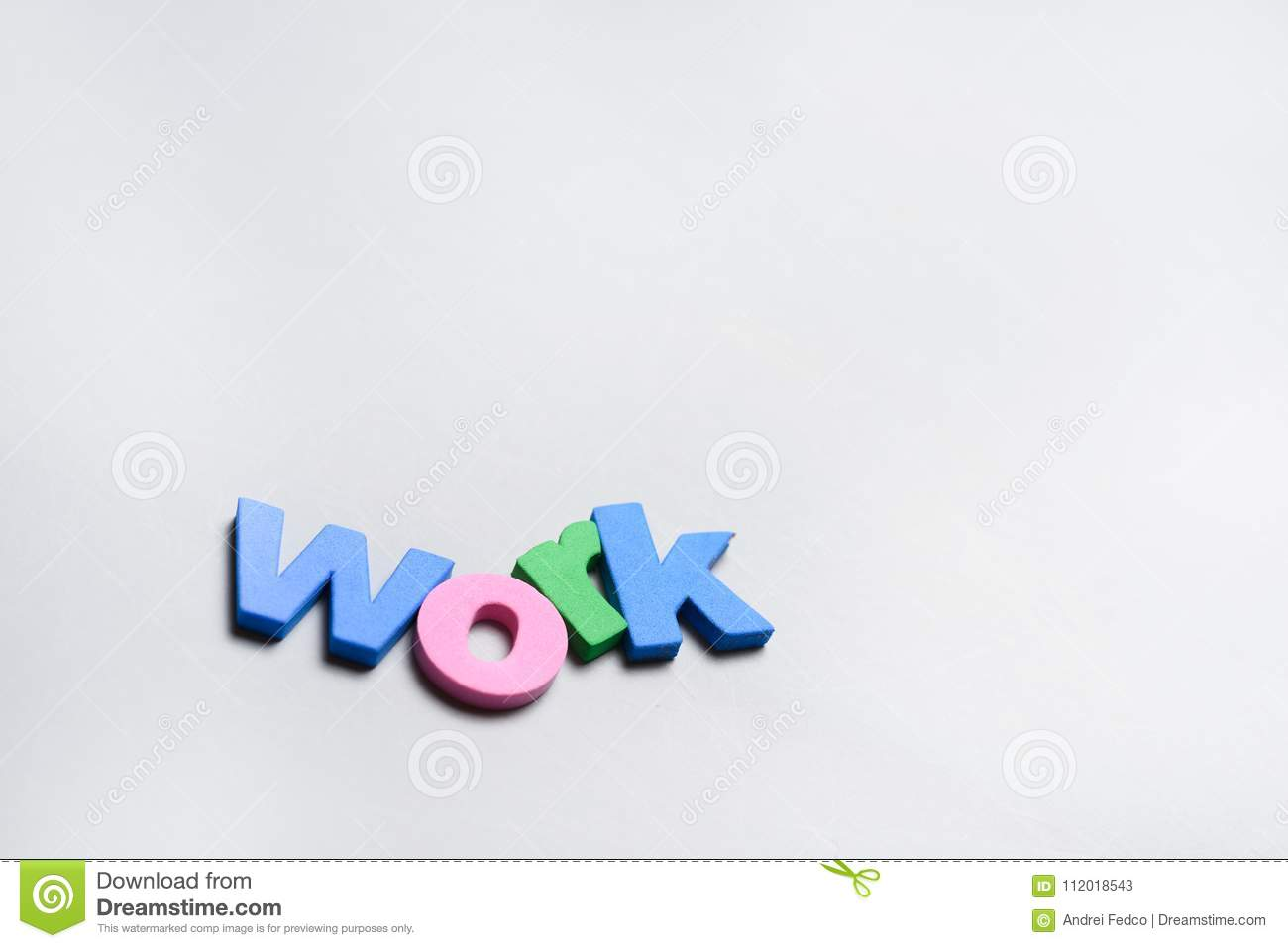 work word written on white background with colorful polystyrene
