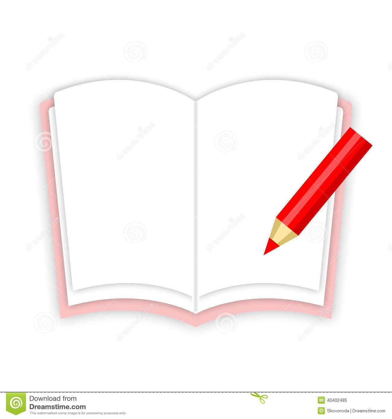 Workbook And Pencil Stock Illustration Image