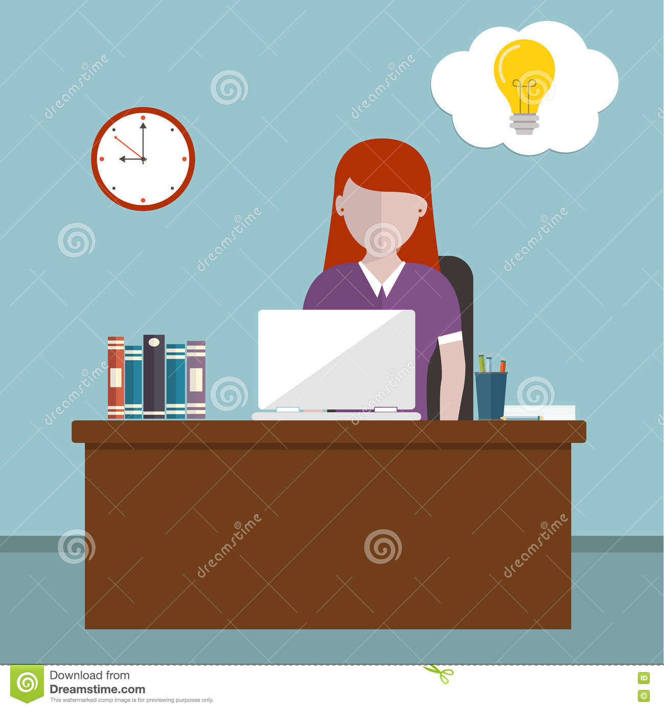Workday and workplace concept. Vector illustration of a woman in the office having idea