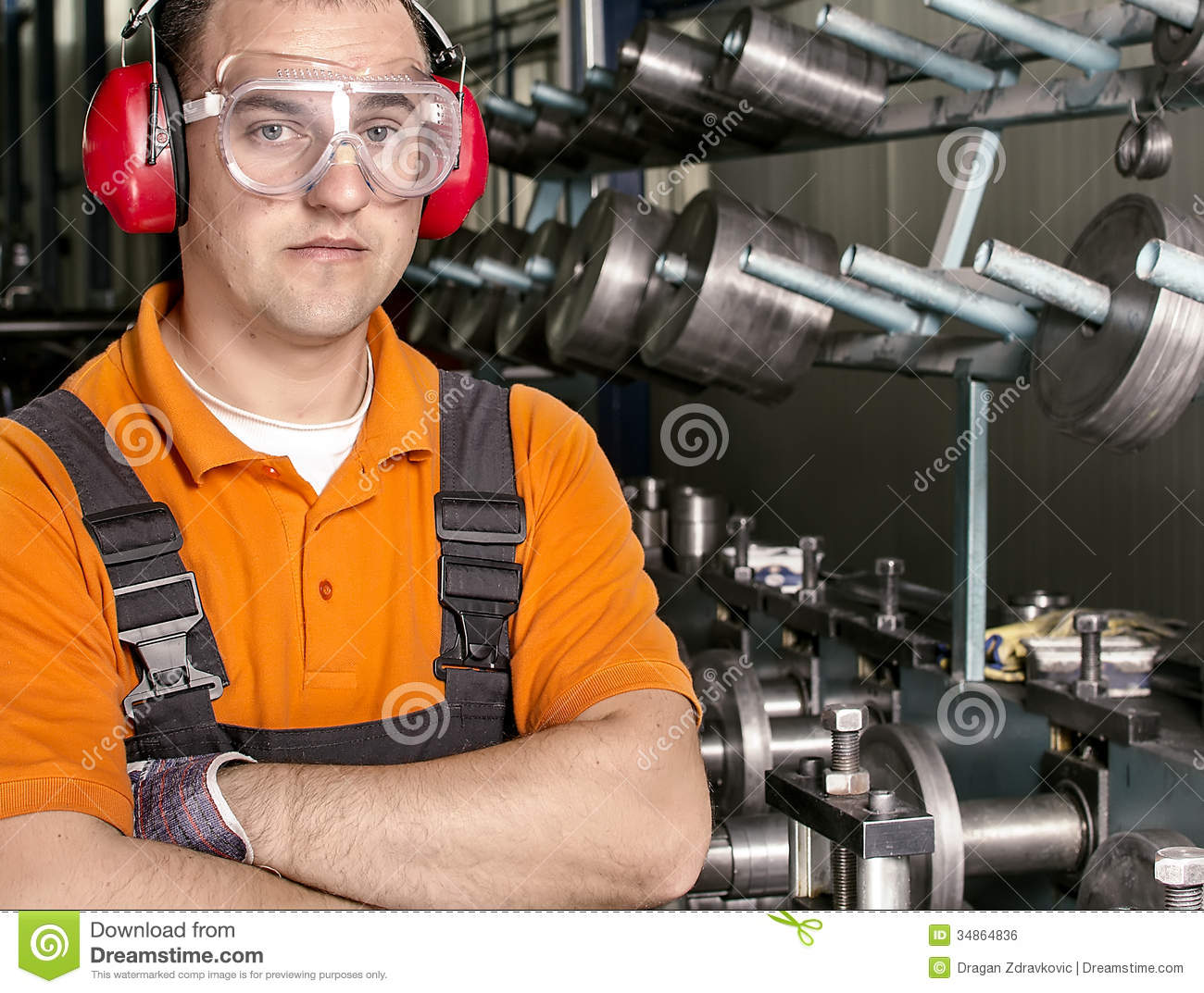 Worker With Antiphons And Protection Glasses In Front Of – Production Worker