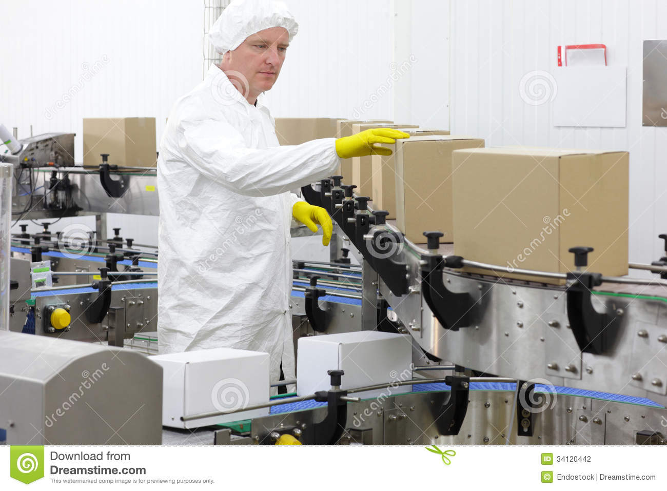 Worker In Apron Cap At Production Line In Factor – Production Worker