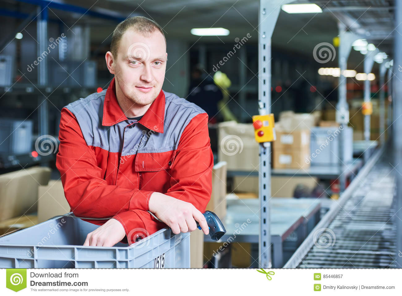 Worker With Barcode Scanner At Warehouse Stock Image - Image