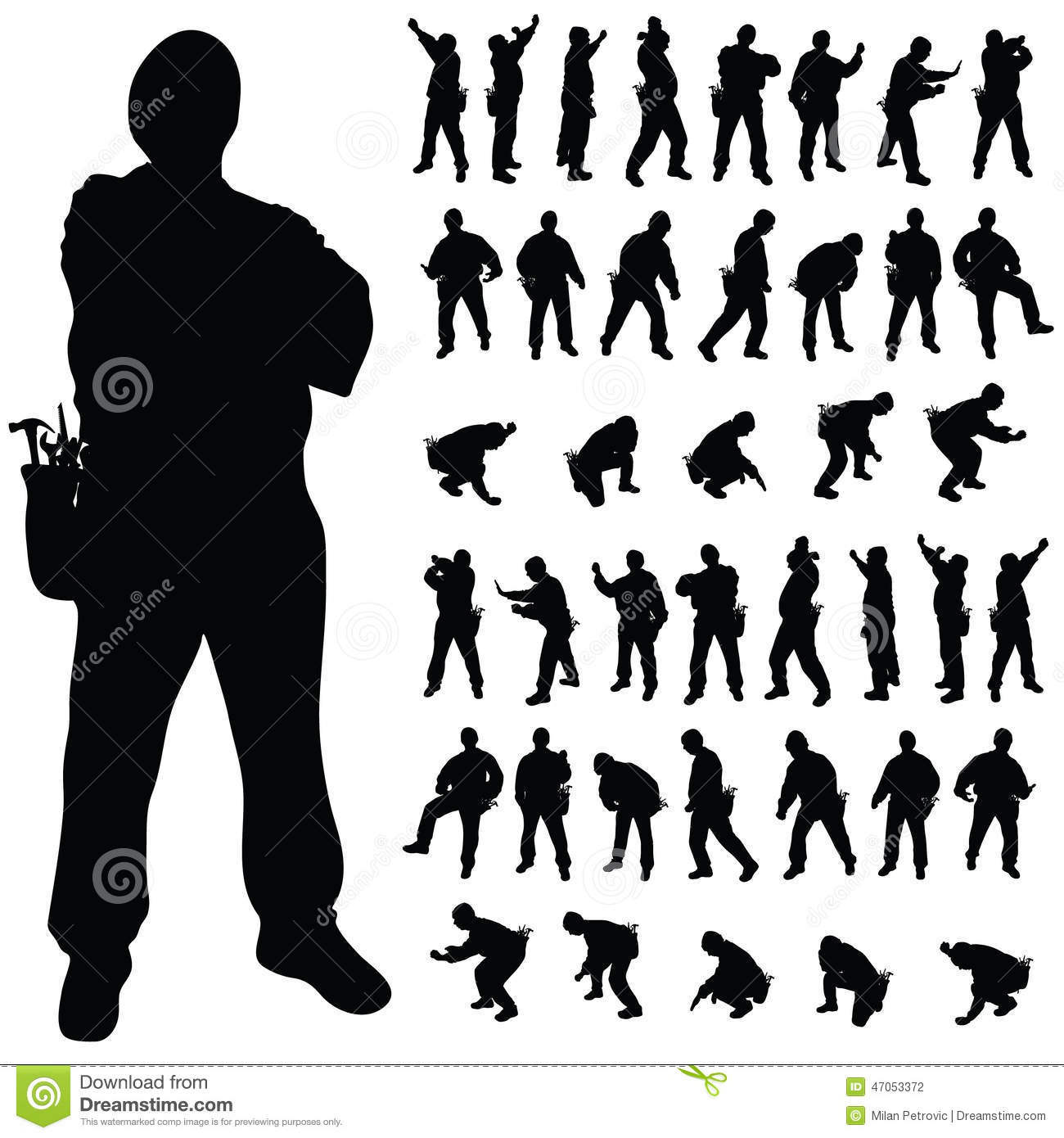 worker black silhouette in various poses stock vector