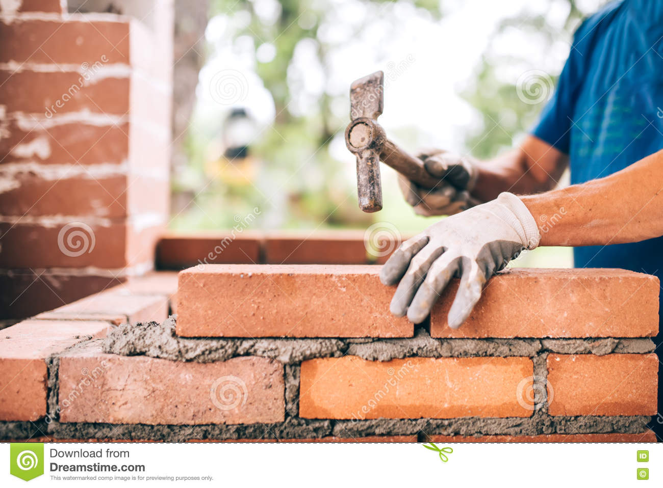 Construction Industry Worker With Tools Plastering Walls ...