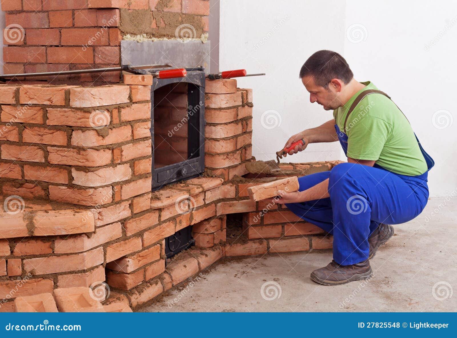 Worker Building Masonry Heater Stock Photo Image Of