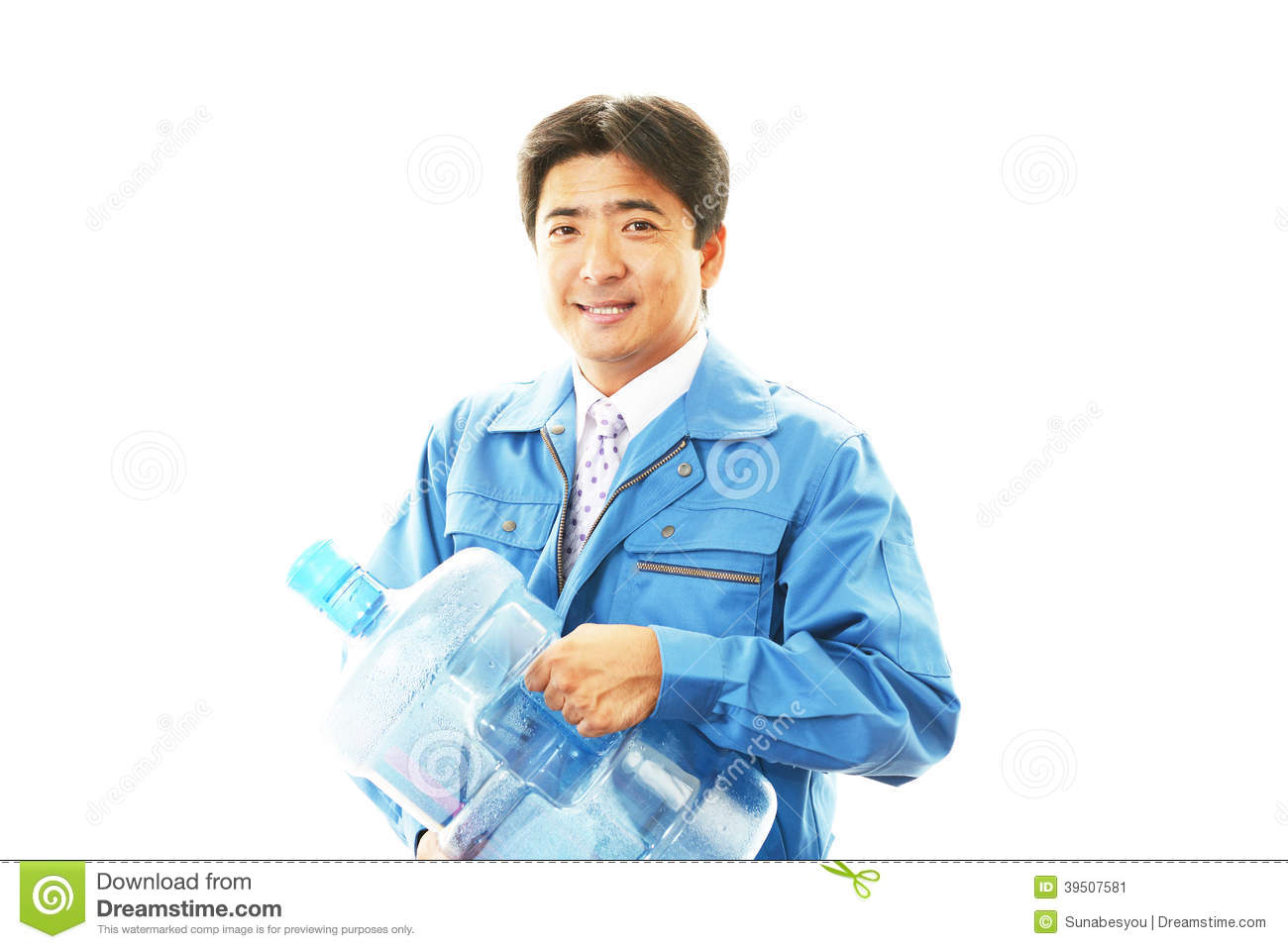 Worker carrying large water bottle.