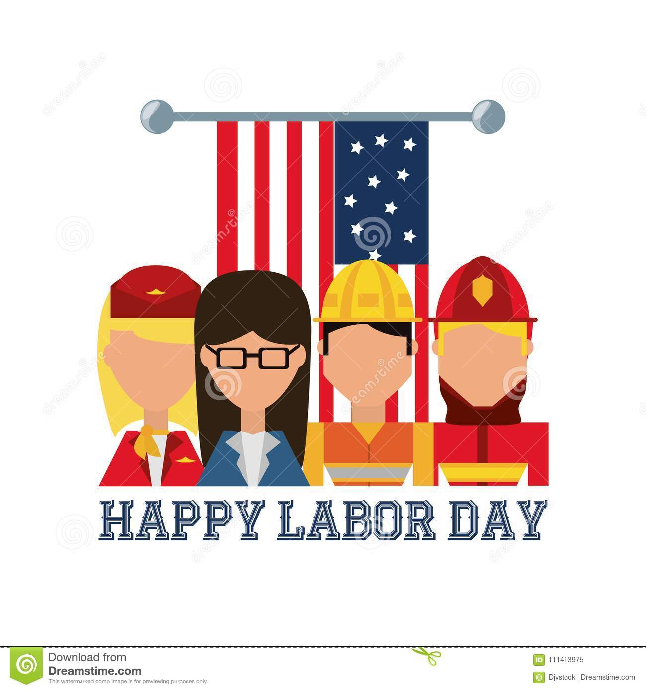 Worker Celebrating Happy Labor Day Stock Vector Illustration Of