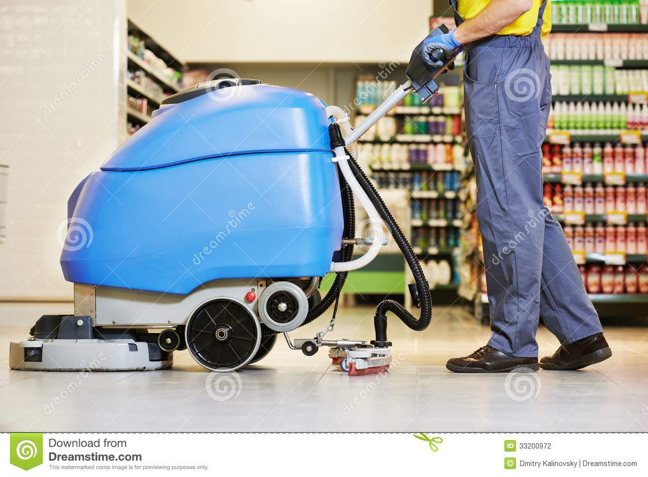 Worker cleaning floor with machine stock photography for Floor washing machine