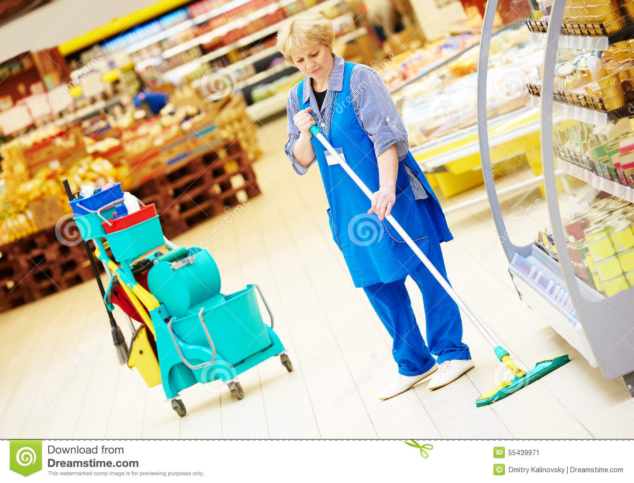 Worker Cleaning Floor With Mop Stock Photo Image 55439971