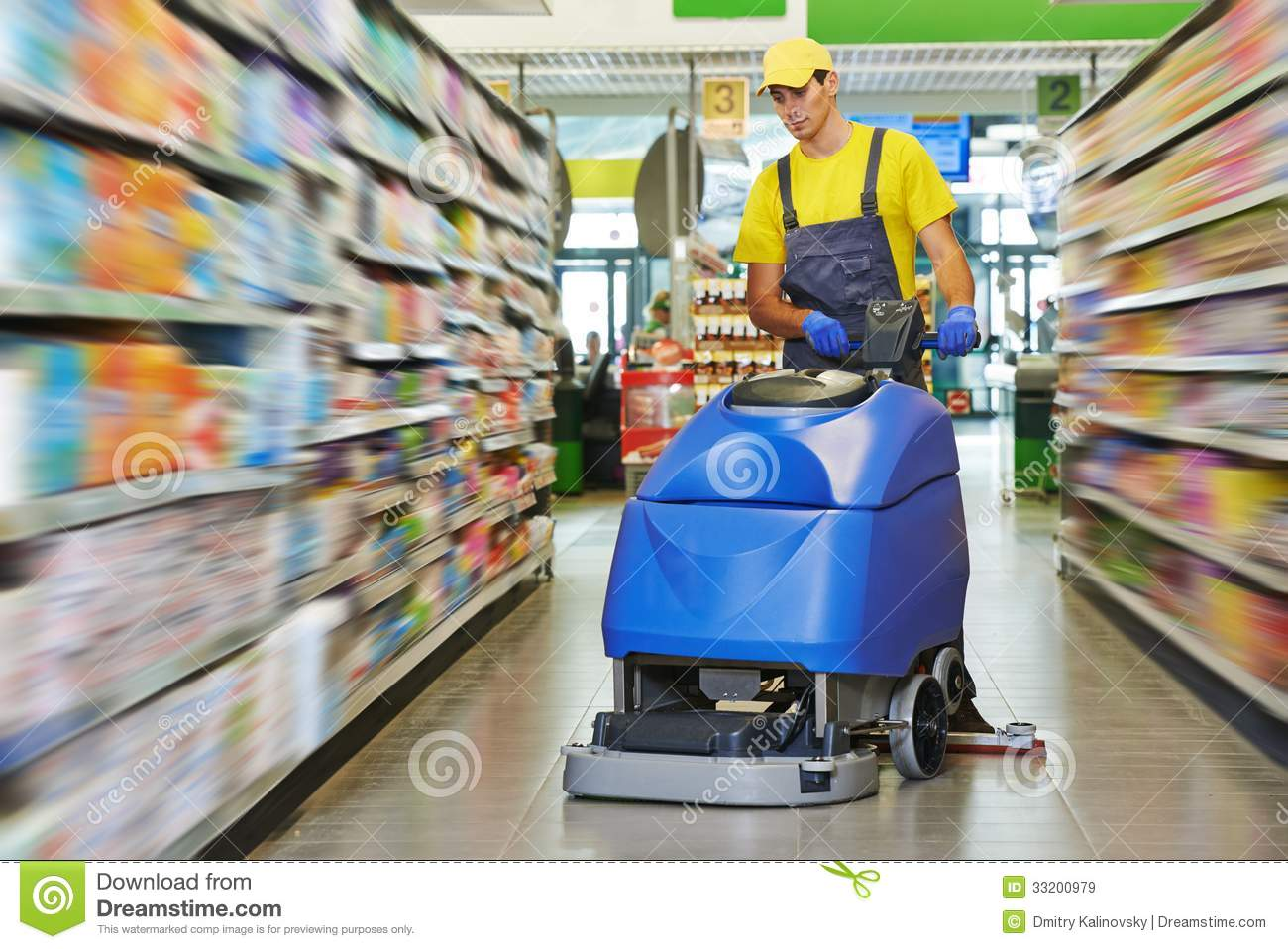 Worker cleaning store floor with machine stock image for Floor cleaning services
