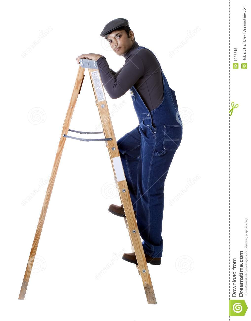 Worker Climbing Step Ladder Stock Image - Image of white, flat: 7023815 for Worker Climbing Ladder  45gtk