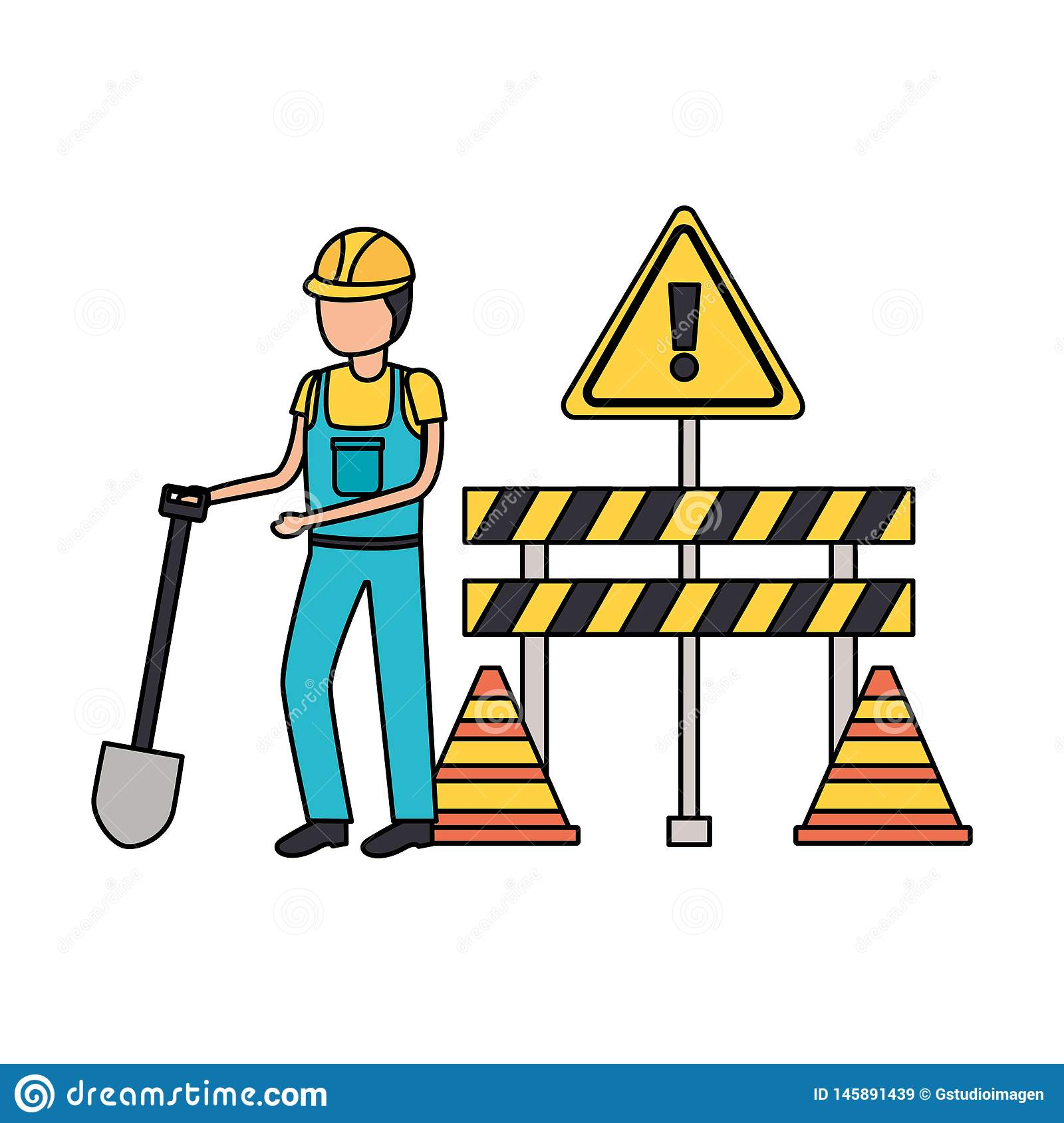 Worker construction equipment. Shovel barrier cone vector illustration royalty free stock images