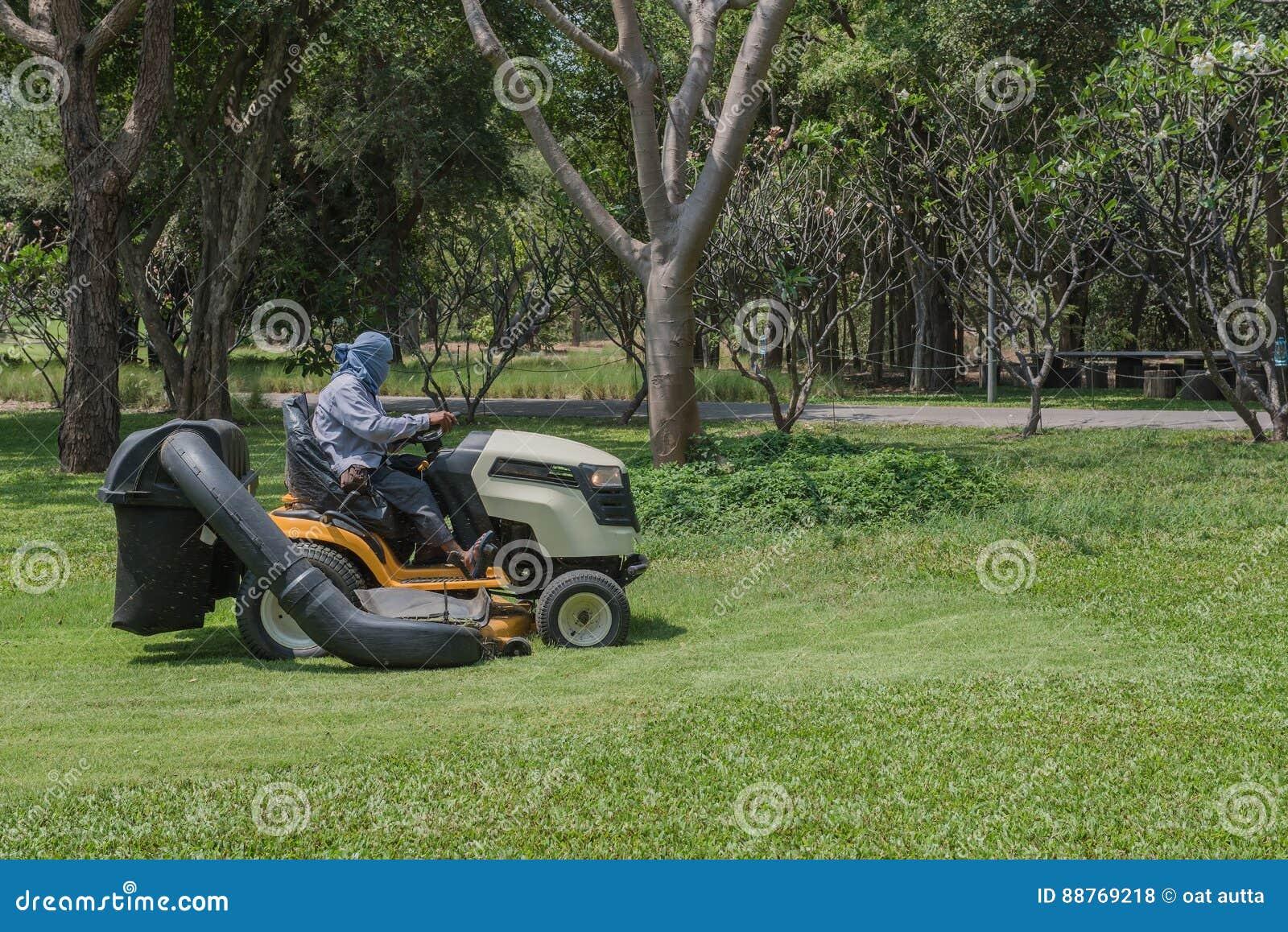 Lawn mower worker cutting grass in green field stock for Lawn mower cutting grass