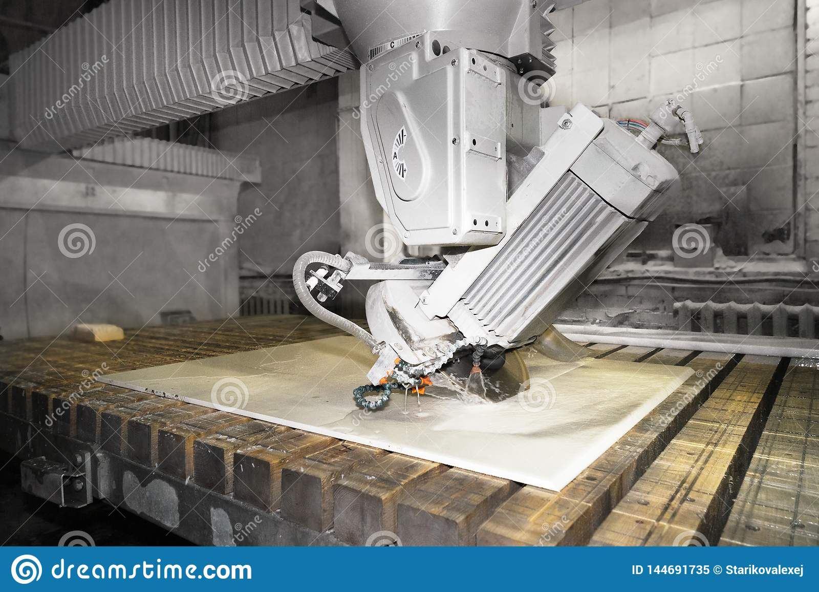 Worker cutting metal ,stone production,beautiful stone cutting