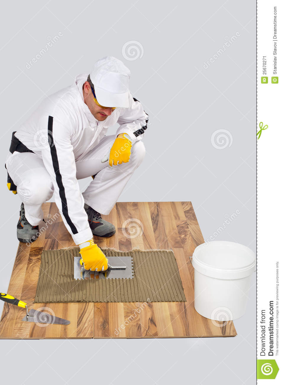 Floor Tile Workers : Worker diy tile adhesive trowel wooden floor stock image
