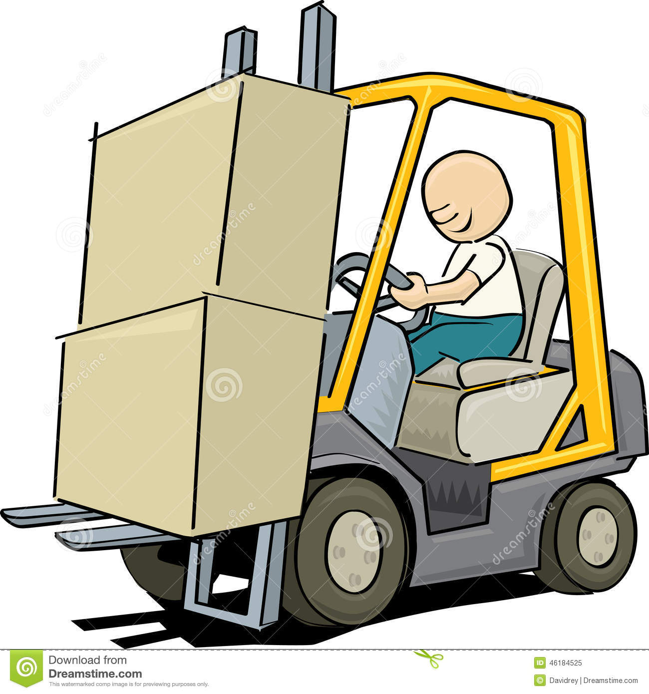Cartoon style illustration of a worker driving a forklift. It is ...