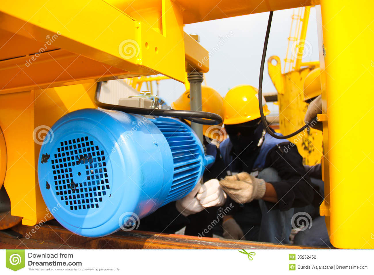 Worker About Electric Motor Stock Photo Image 35262452