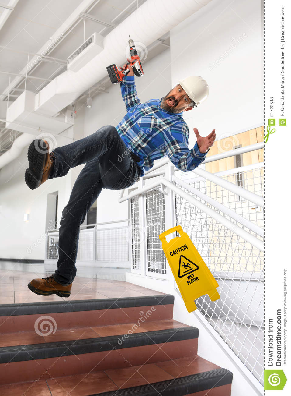 WOrker Falling Down Stairs