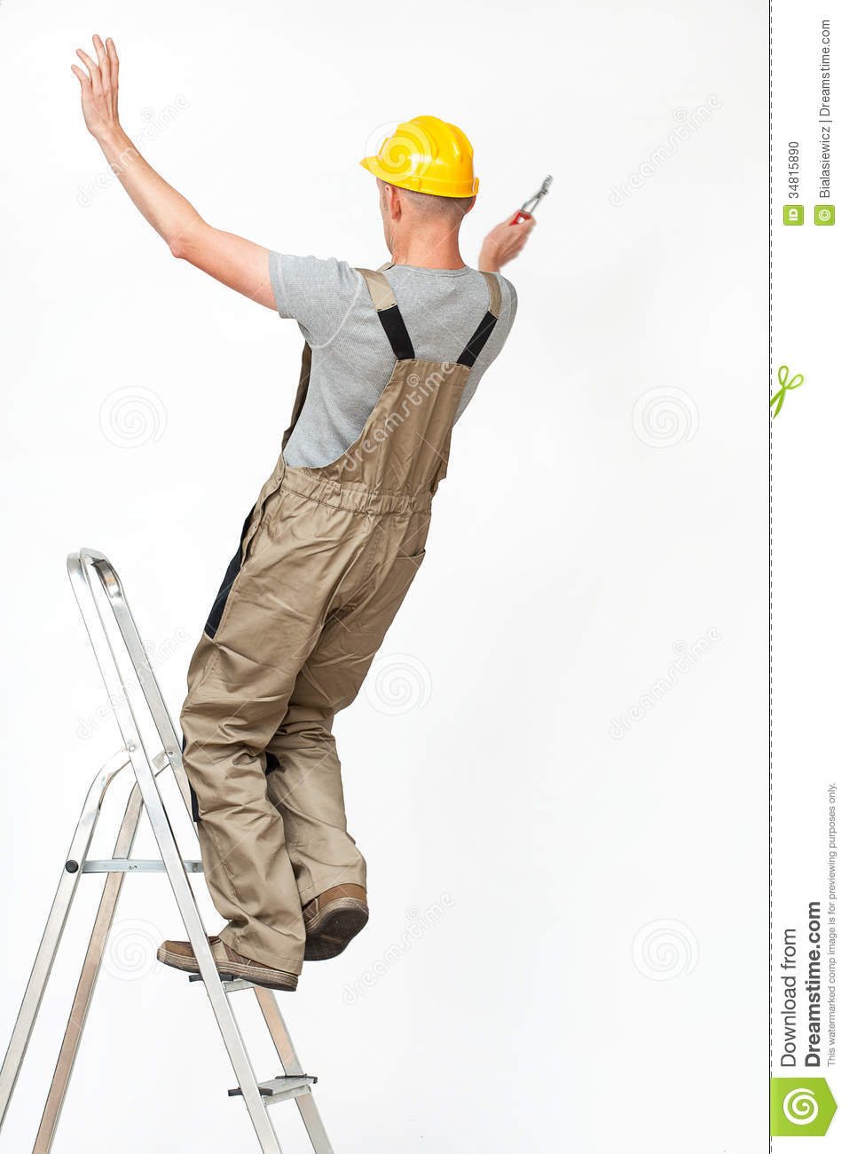 Worker Falling From Ladder Stock Photo Image 34815890