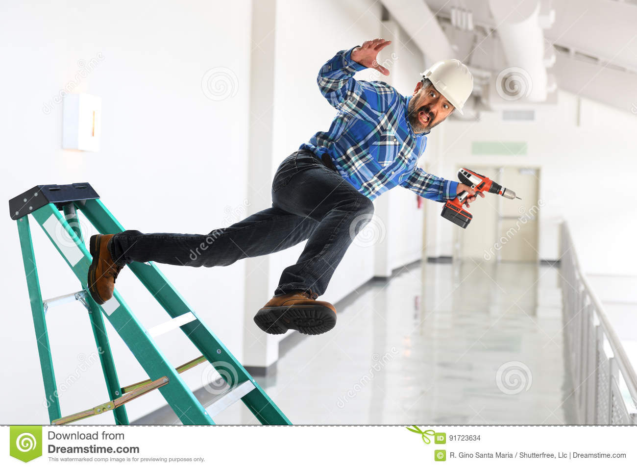 Worker Falling Off Ladder Stock Photo Image Of Hazard