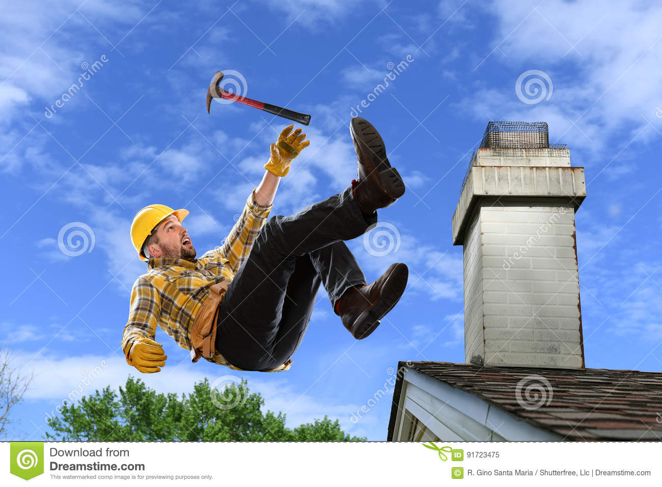 Worker Falling From Roof Stock Image Image Of Workman
