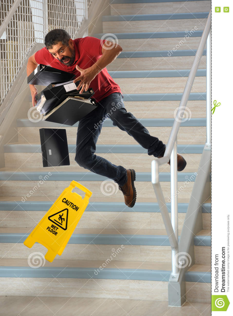 Worker Falling on Stairs