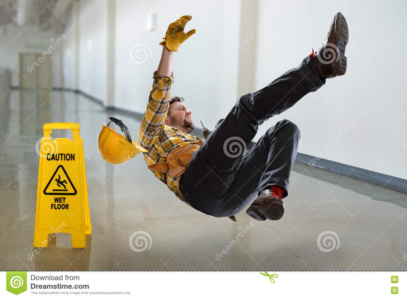 Worker Falling On Wet Floor Stock Photo Image Of Caution
