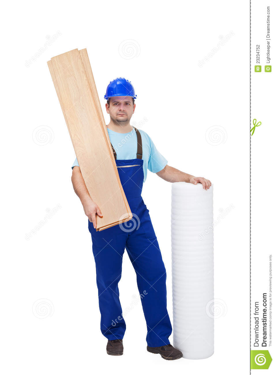 Worker With Flooring Materials Stock Photography Image