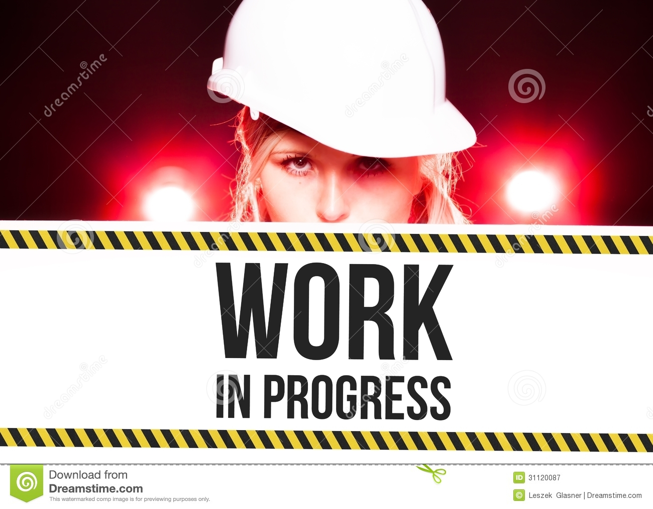 Under Construction Tape Background Worker Holding Work In...