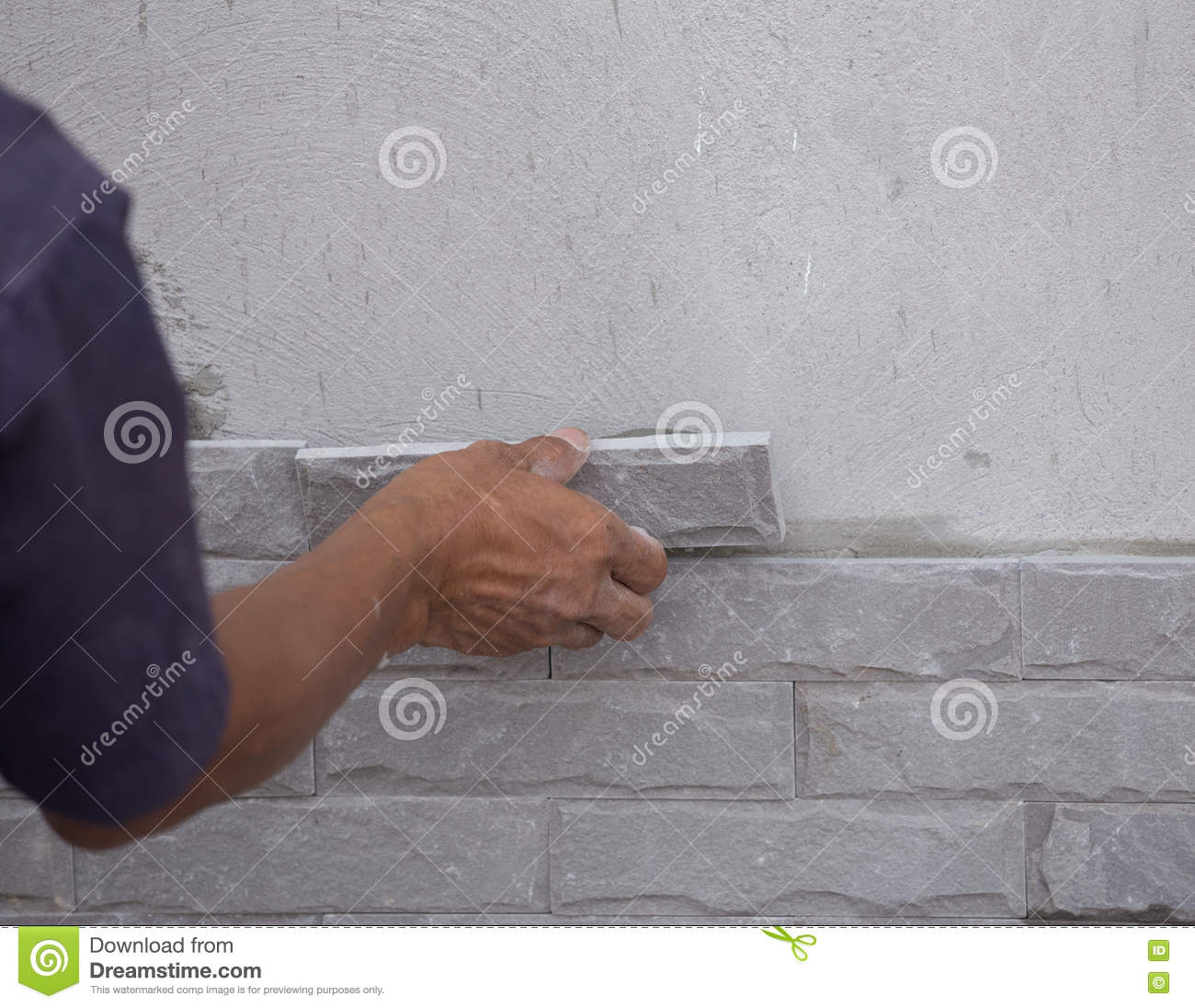 worker install stone wall tile with cement for house stock image image of renovation decorate 72588741