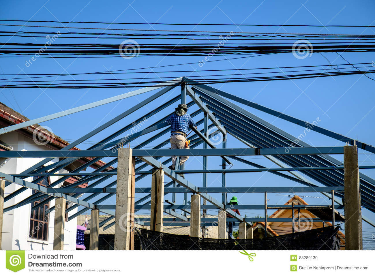 New home construction with steel roof structure royalty for New home structure