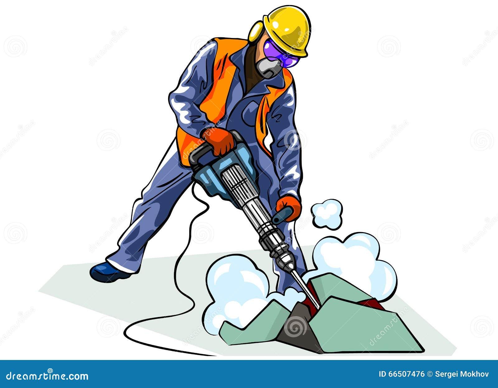 worker with jackhammer stock vector illustration of male 66507476. Black Bedroom Furniture Sets. Home Design Ideas