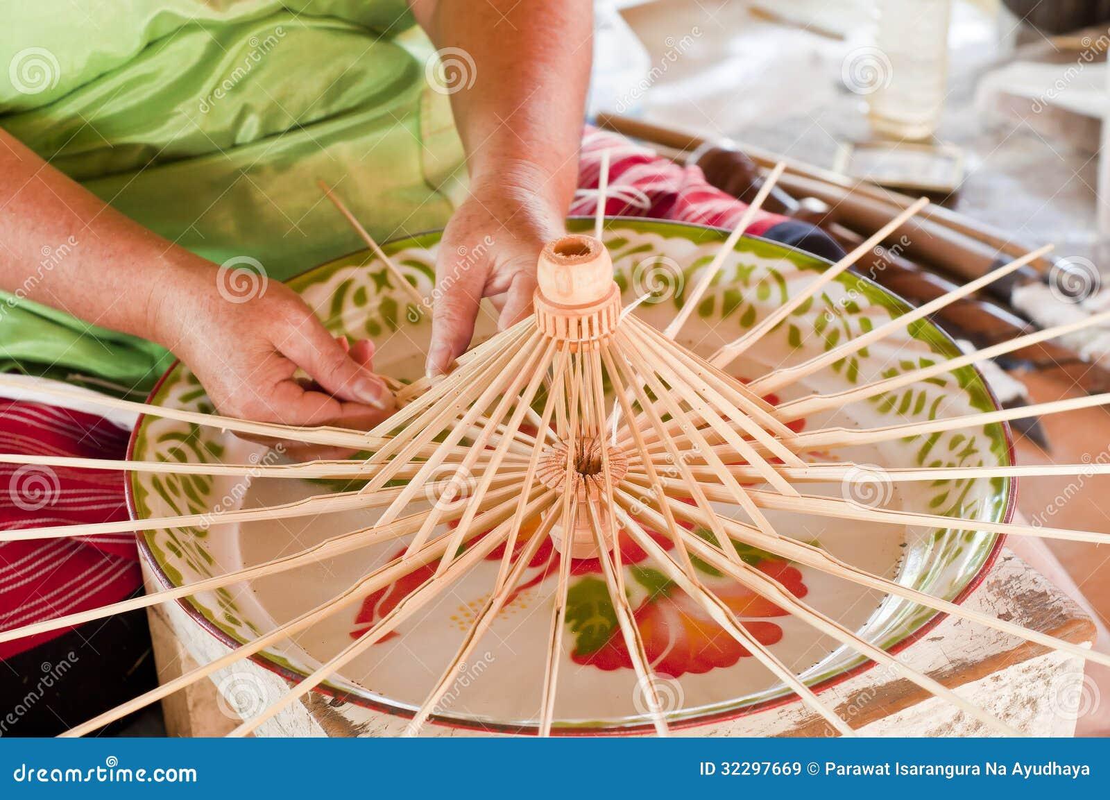 worker making bamboo umbrella frame