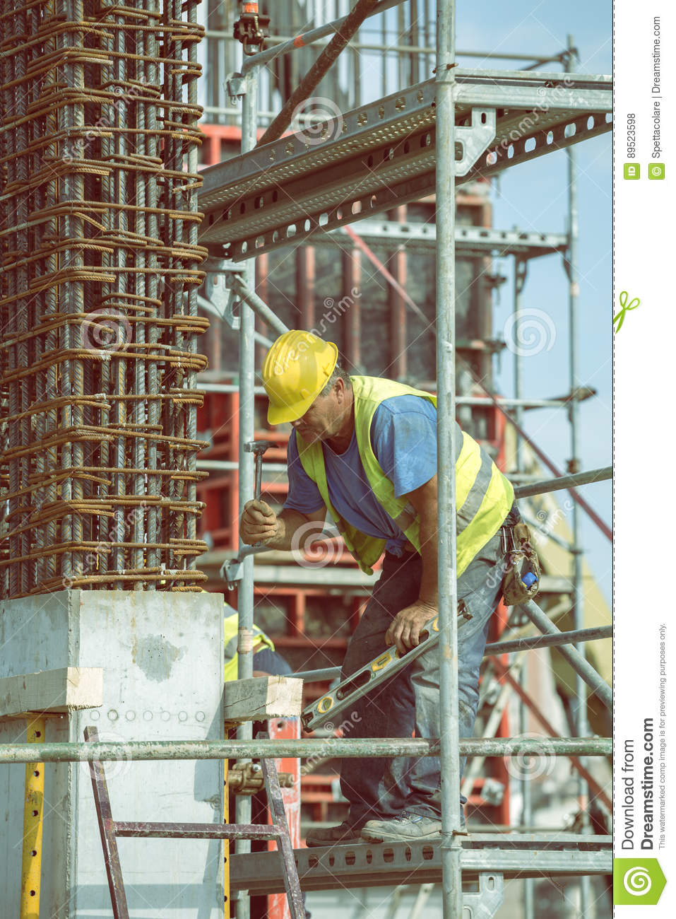 Worker Making Framework For Concrete Pillar 4 Editorial Stock Photo