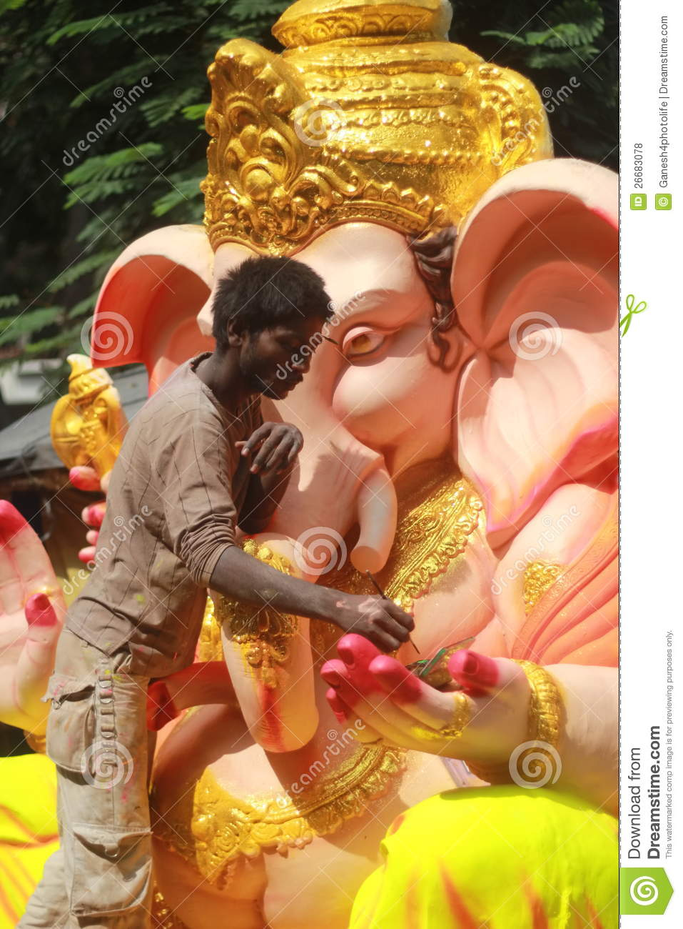 worker making ganesh idol in hyderabad india editorial stock photo image 26683078. Black Bedroom Furniture Sets. Home Design Ideas