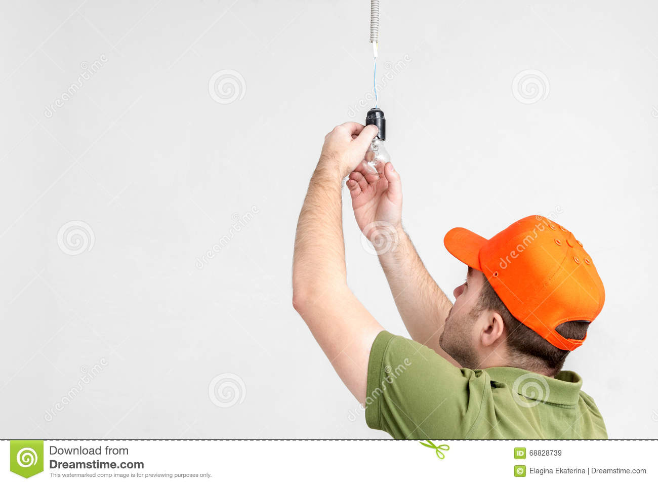 Worker Man Changing Light Bulb Stock Image Of Lampshade Wiring A