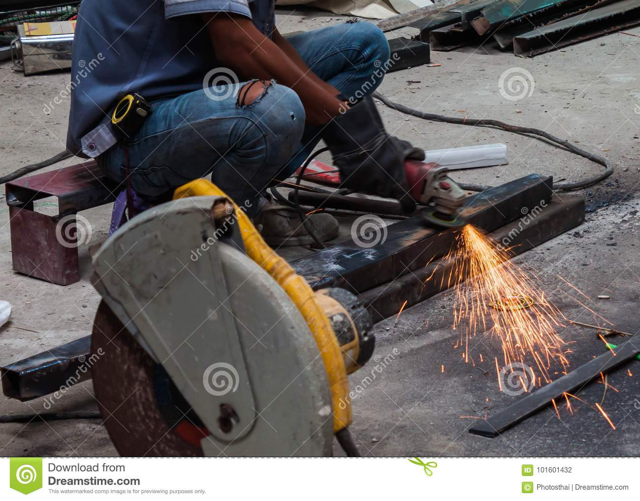 Worker Man Use Electric Wheel Grinding Stock Photo - Image