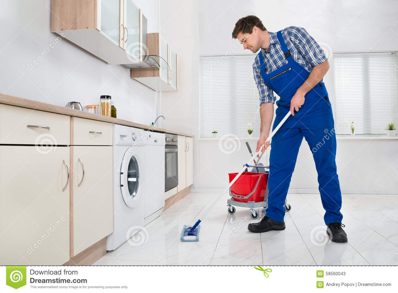Worker Mopping Floor In Kitchen Stock Photo Image 58560043