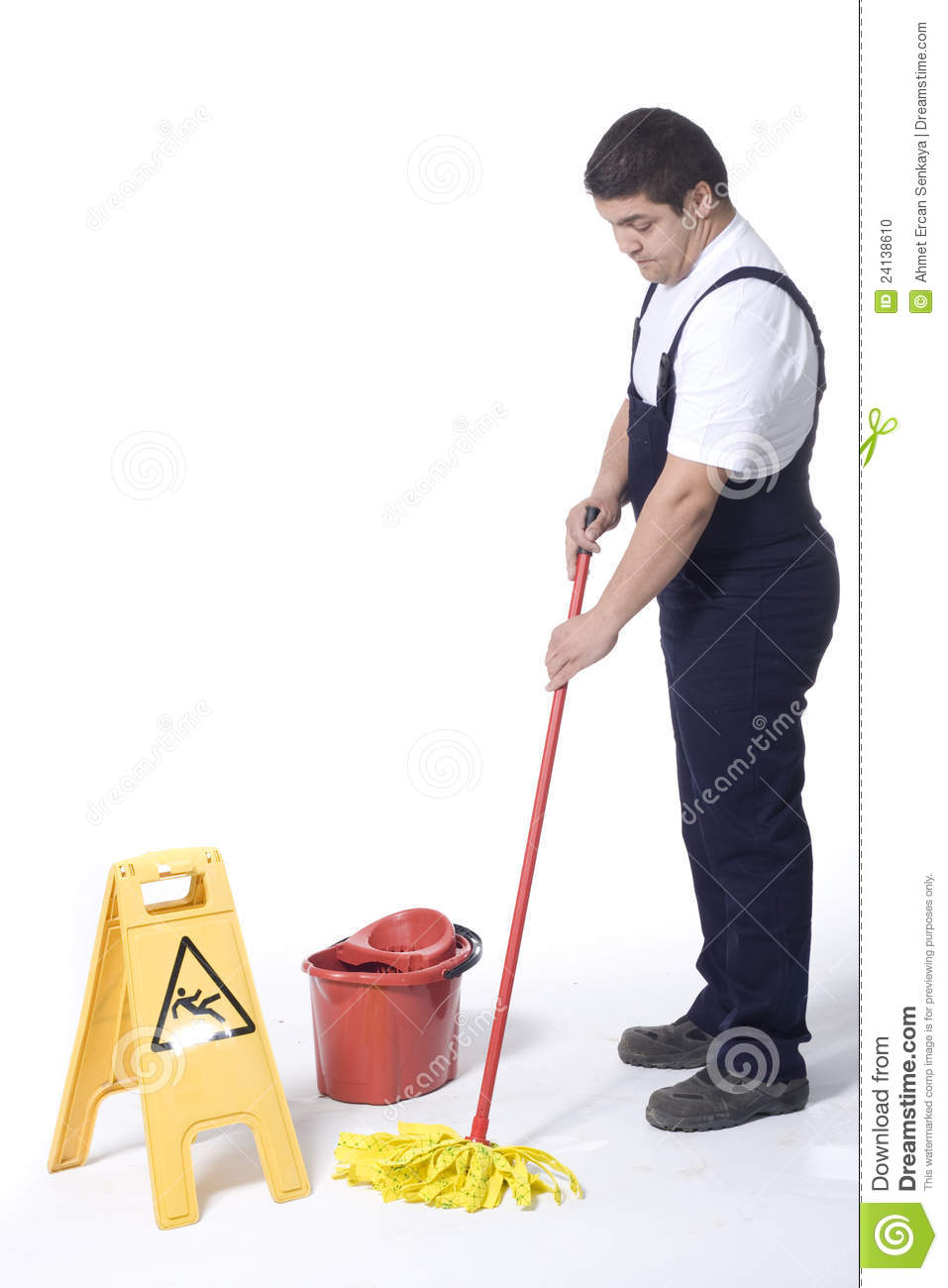 A Worker Is Mopping White Floor Stock Photo Image 24138610