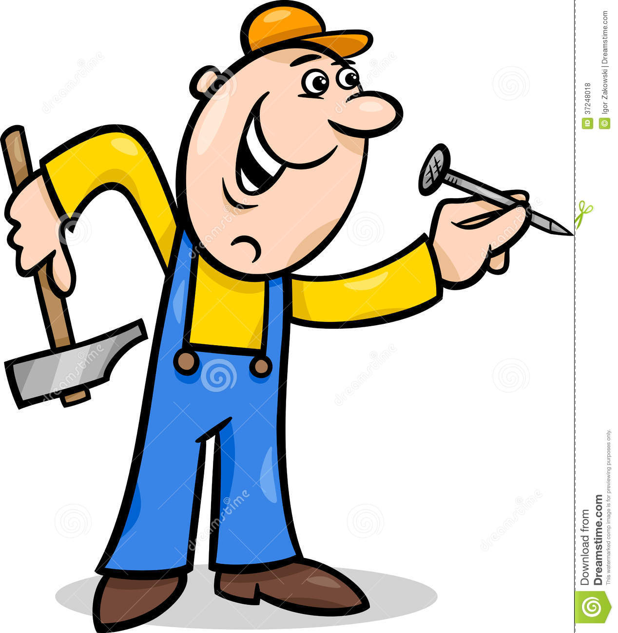 Cartoon: Worker With Nail Cartoon Illustration Royalty Free Stock