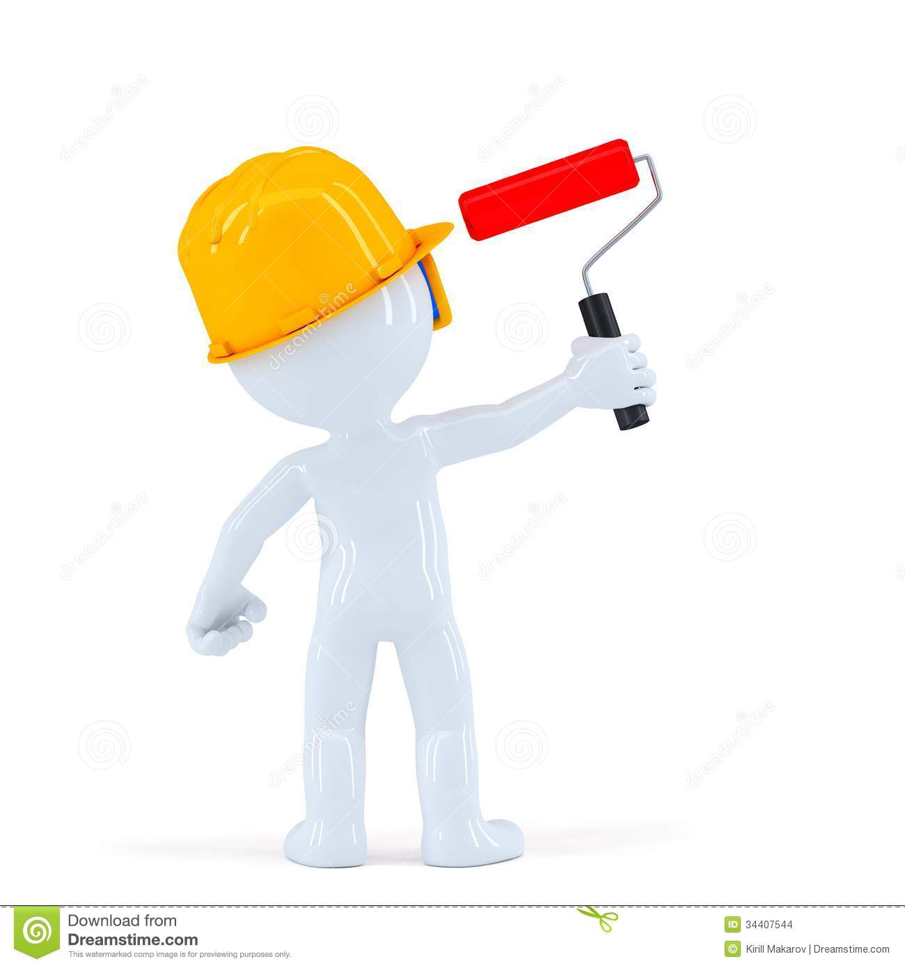 Worker with paint roll painting invisible wall  over white background Worker Painting Wall