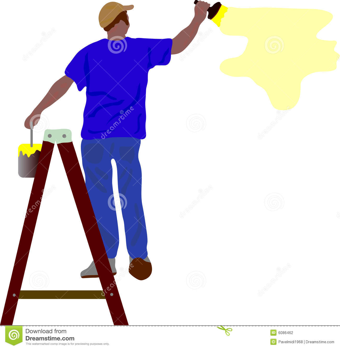 Vector - worker painting a wall on double ledder Worker Painting Wall