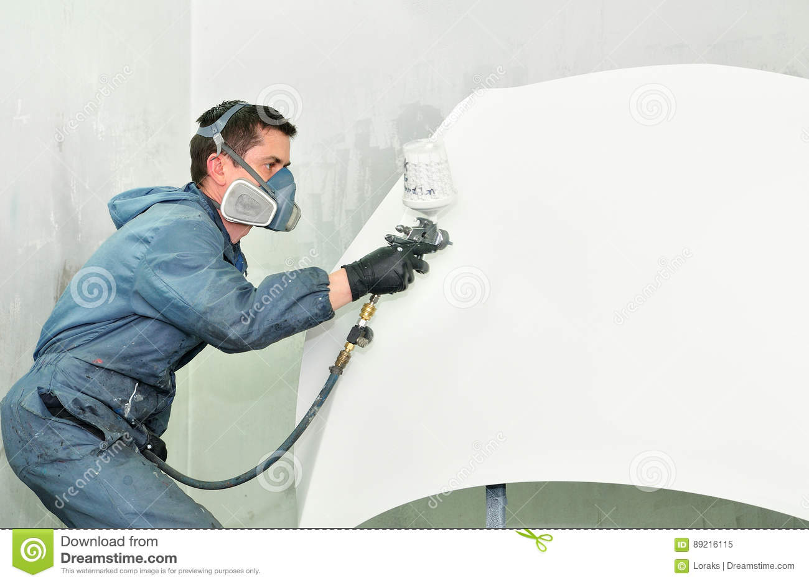 worker painting white car bonnet stock photo image 89216115. Black Bedroom Furniture Sets. Home Design Ideas