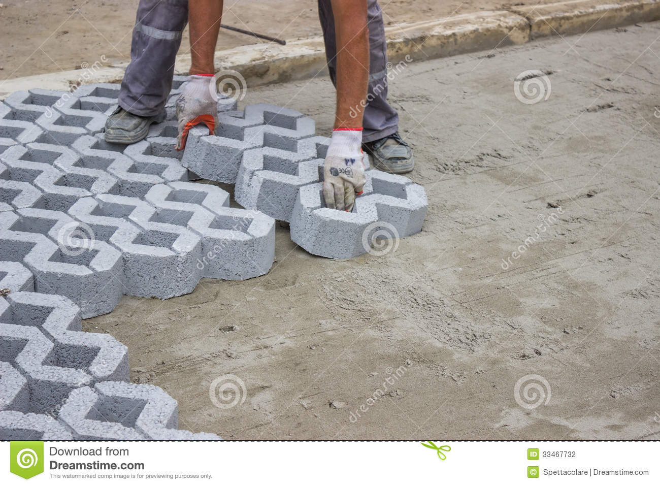 Worker Paving New Parking Places 3 Stock Photo Image Of