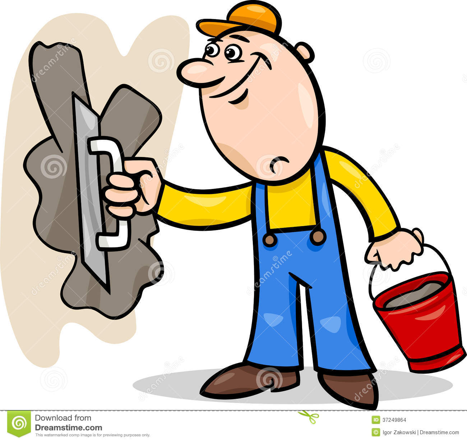 Mason Trowel Clip Art Cartoon : Worker with plaster cartoon illustration stock vector