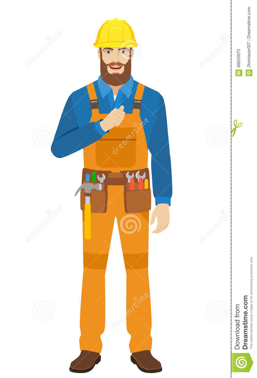 worker pointing the finger at yourself stock vector illustration