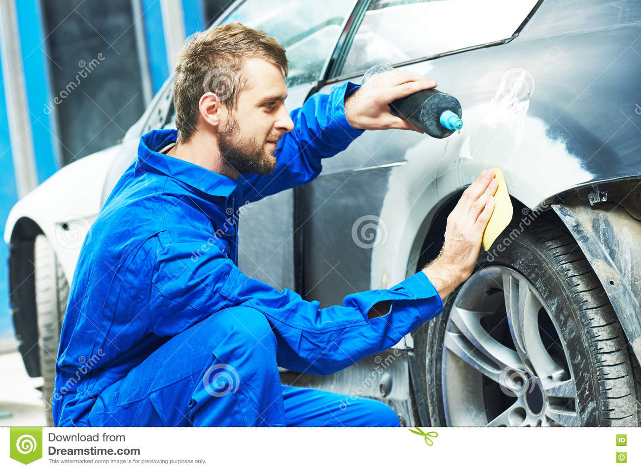 Worker preparing car body for paint stock image image for Body paint auto