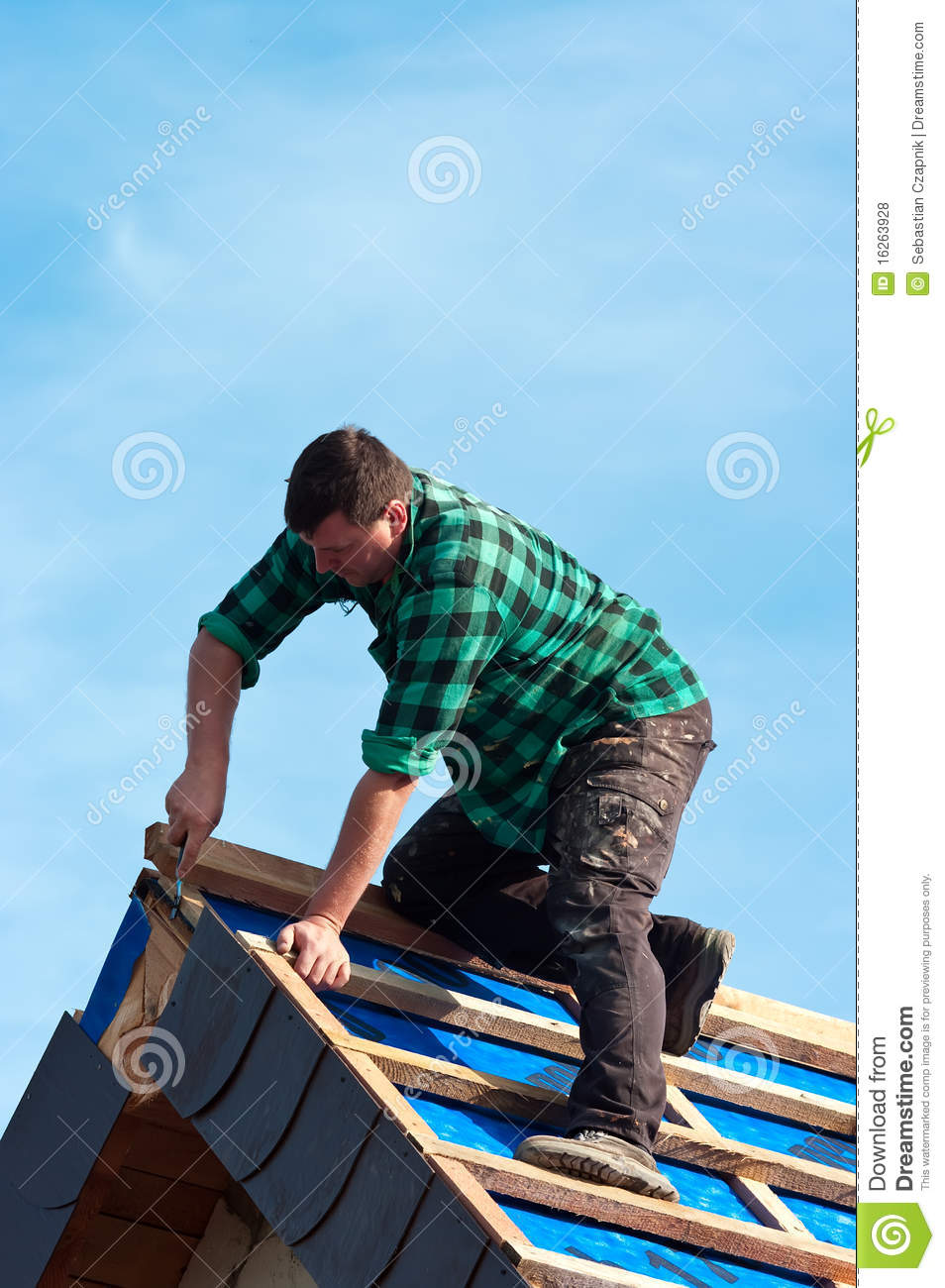 Worker On Roof Royalty Free Stock Photos Image 16263928