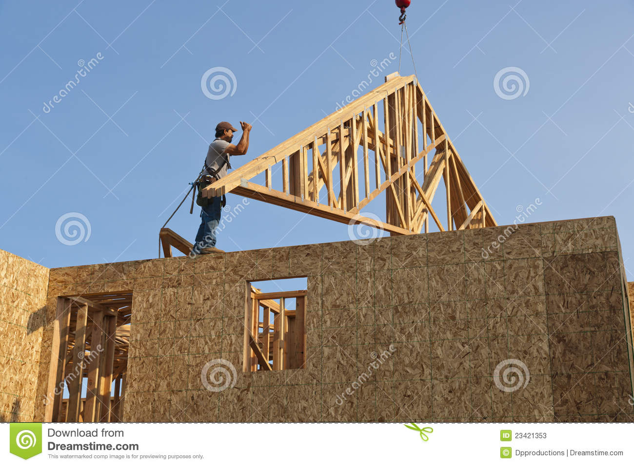 Worker With Roof Truss Frame Stock Image Image Of